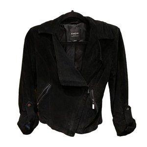 bebe Moto Black Suede Leather Bomber Jacket Sz S